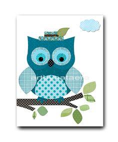 Owl Decor Owl Nursery Baby Boy Nursery art print by artbynataera, $14.00