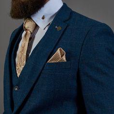 Marc Darcy Dion Tweed Herringbone Blue Three Piece Suit (2017 style) 61284390c865