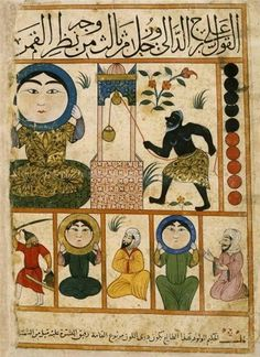 "darksilenceinsuburbia: "" Persian Zodiac These images come form an egyptian manuscript from the centuries. It reproduces a persian astrological treatise from century - 'Kitâb al-Mawalid'. Zodiac Signs Aquarius, Zodiac Art, Astrology Zodiac, Aquarius Art, Illustrations, Illustration Art, Maleficarum, Tarot, Illuminated Manuscript"