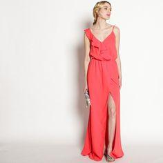 Abendkleid Rüschenausschnitt 'Rot'