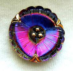 Czech Glass Button  Realistic Multi Color Mirror by ButtonOdyssey, $5.99