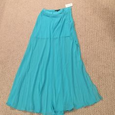 Forever 21 maxi skirt Bright teal, waist height, side zipper. Cotton under to mid/upper thigh, chiffon outer, thigh high slit on each side Forever 21 Skirts Maxi