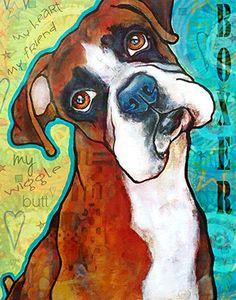 BOXER print 8x10 Dog Art Print Pet Art Portrait by snicklenfritz