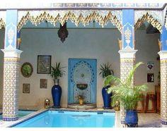 Moroccan Turquoise Tile Backyard