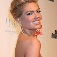 2013 Casual Updo Trends: Kate Upton Updo with Voluminous Bangs