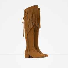 LEATHER BOOT WITH FRINGE - View all - Shoes - WOMAN | ZARA Sweden