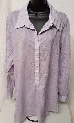 Coldwater Creek Woman's Plus Purple/White Striped Shirt Size 2X (20W/22W) #ColdwaterCreek #Blouse #Casual