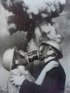 Final Kiss surreal nuclear apocalypse vintage portrait photo freaky , odd and very cool , the next big thing in romantic alternative wedding photos perhaps ?