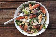 Zucchini Noodles with Figs, Arugula, and Pancetta #healthy #recipes #zucchini