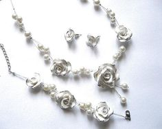 Set mireasa cu colier si bratara - produs handmade - idei cadouri nunta - set lucrat manual