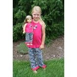 "Matching Girl and Doll 3 Piece Pink Zebra Pajama Set Fits 18"" American Girl $45.00 www.weeline.com"