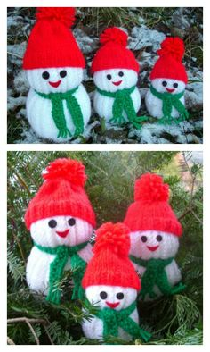 Snowman Family FREE Knit Pattern