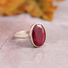 Genuine Ruby ring  Precious stone ring  Red ring  by Studio1980
