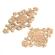 Newest Flower Pattern Wood Carved Unpainted Wood Oak Carved Round Onlay Applique Plaques Furniture Home Decoration Two Size
