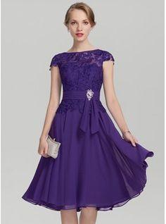 A-Line/Princess Scoop Neck Knee-Length Beading Zipper Up Cap Straps Sleeveless No Regency General Plus Chiffon Lace US 2 / UK 6 / EU 32 Mother of the Bride Dress Wedding Party Dresses, Bridesmaid Dresses, Prom Dresses, Bride Dresses, Ruffle Beading, Mothers Dresses, Groom Dress, Purple Dress, Special Occasion Dresses