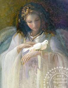 """Nancy Noel One of My favorite artist. Limited Edition Giclee on Canvas:""""Portrait of Angel with Dove"""" Angel Images, Angel Pictures, Seraph Angel, Entertaining Angels, Angel Artwork, I Believe In Angels, Angels In Heaven, Heavenly Angels, Angels Among Us"""
