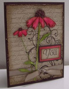 This is so pretty! It could be an anything card. Put a smallish butterfly stamped & coloured onto vellum, change the flowers to a creamy colour & this would even work as a sympathy card. The flower colour choices are easy adapt to suit your recipient.