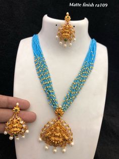 Temple Jewellery available at Ankh Jewels For booking WhatsApp on Gold Earrings Designs, Gold Jewellery Design, Bead Jewellery, Necklace Designs, Gold Jewelry, Beaded Jewelry, Beaded Necklace, Temple Jewellery, Gold Necklaces