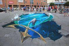 29 Mind-Bending Works Of 3D Street Art You Need To See 3d Street Art, 3d Street Painting, Amazing Street Art, Street Art Graffiti, Amazing Art, 3d Painting, Awesome, Banksy, 3d Sidewalk Art