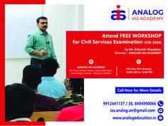 Free workshop for UPSC 2020 Aspirants Civil Service, Workshop, Free, Atelier
