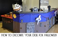 Whether you work at home or a shared office, you can decorate your office desk for Halloween to add some fun to your work week (as long as your boss allows).  Here are a few ideas for how to decorate your desk for Halloween.