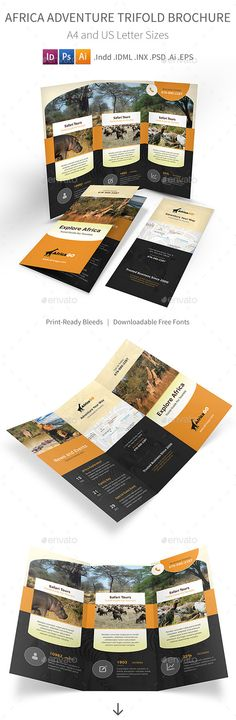 Africa Adventure Trifold Brochure Template PSD, Vector EPS, InDesign INDD, AI Illustrator