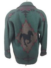 Coldwater Creek EquestrIan Horse Green Sweater Jacket/Blazer Sz Medium
