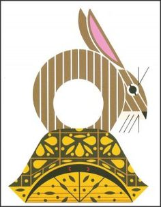 A bunny rabbit riding prim and proper atop a box turtle.    Open edition lithograph from the art of Charley Harper
