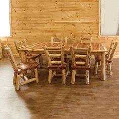Our genuine aromatic red cedar log dining set with 4 removable leaves.  #red #cedar #dining #table