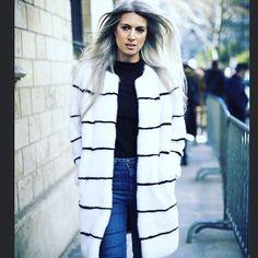 @sarahharrisuk wearing monochrome @lillyevioletta #couture #aw16 #lillyevioletta #livingluxuryeveryday #sarahharris #silverlocks #fashion