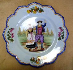 Bretonne and Breton dancing in France. HB-Henriot Quimper plate. Hand painted French faience.