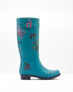 Printed Seahorse Botanical Floral Rain Boots | Joules US