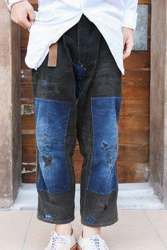 vintage denim patchwork boyfriend jeans