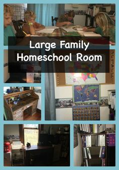 This large family homeschool room will give you ideas for a small space. It is using a small bedroom and has room for more than eight people as needed, plus all their homeschool books and supplies. It has quickly become a hangout for all their children an