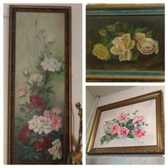 Antique Rose's Oil Paintings Signed - $95 and up