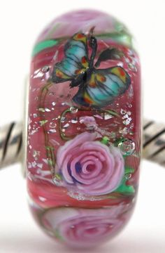 ROMANCE ROSES  fits Pandora and Trollbeads bracelets artisan murano glass charm bead. Made by glass artist Mandy Ramsdell.