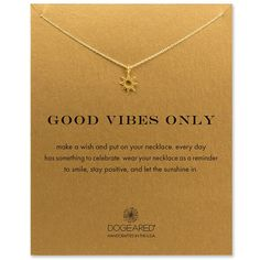 good vibes only radiant sun necklace, gold dipped - Dogeared
