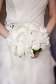 All white peony bouquet