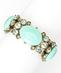 Love this Antique Gold & Turquoise Oval Bracelet on #zulily! #zulilyfinds
