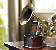 iPhone docking gramophone. Too cool.