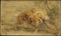 Peter Paul Rubens - Hercules Strangling the Nemean Lion, c. 1639; Oil on cradled panel, with traces of red chalk, 23x39.2 cm | Harvard Art Museums/Fogg Museum