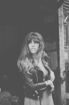 *biker jacket - cigarette - dress - black and white - french