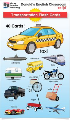 Transportation Flash Cards are an essential when teaching ESL classes or newcomers in your regular classes! This flash card set has 40 transportation cards in two print-ready sizes for printing large and small cards. #ESL #EFL #ELL