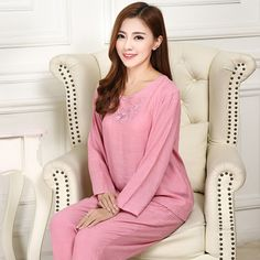 New autumn winter long-sleeve women sleepwear pajamas Pajama Sets women clothing sets female cotton pajamas sets #Affiliate