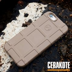 MagPul cell phone case with Cerakote Elite Coyote M17 used for the protective qualities such as abrasion and corrosion resistance.