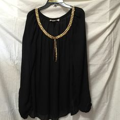 Micharel Kors black sheer long sleeves Michael kors , medium sized black sheer(polyester) long sleeves , with gold lining detail on top. Dry clean. Smoke and pet free home Michael Kors Tops Tees - Long Sleeve