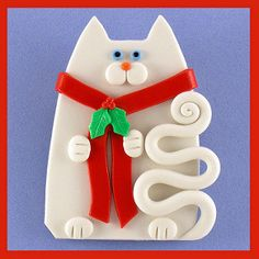 White Snowman Cat Pin | by artsandcats