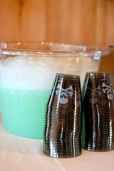 easy halloween punch. just sprite and lime sorbet. it even bubbles when mixed. Love this, the idea was given by my mom - did it for my kids on Halloween every year :)~