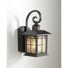 Hampton Bay Mission Style Sml Wall Mount Outdoor Black Lantern With Built In Gfci 30811423 At