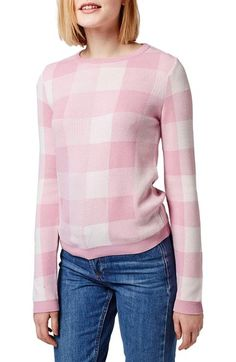 Topshop Gingham Check Sweater available at #Nordstrom